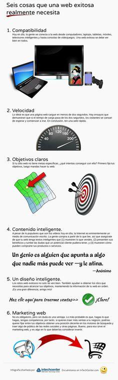 Una infografía en español con seis prácticos consejos para ayudar a que cualquier página web o blog alcance el objetivo de lograr el éxito.
