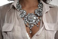 Use clusters of crystal to give a modern outfit a vintage finish. Crystal necklace by Aldo.