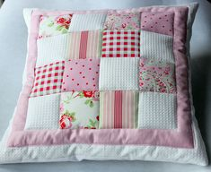 Quilted patchwork cushion  Could be cute for Kate's room to match the owl bunting I made