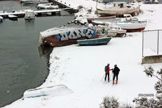 Best Place for Skiing A couple of skiers take in the stunning Harbor view. Heavy snow in Thessaloniki Greece 2017 Harbor View, Crete Greece, Thessaloniki, Greece Travel, Travel Photos, Skiing, Tourism, Vacation, Water