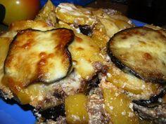 Receptbazár: Padlizsános rakott krumpli Kefir, French Toast, Pork, Meat, Chicken, Breakfast, Kale Stir Fry, Morning Coffee, Pork Chops
