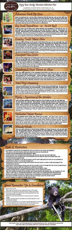 Free Attractions in Gatlinburg TN - The Free Adventure Pass from Auntie Belham's offers free tickets to Gatlinburg area attractions, just for staying in one of our Gatlinburg cabin rentals! Take a look at this list of great attractions you can enjoy on yo Gatlinburg Attractions, Gatlinburg Vacation, Gatlinburg Cabin Rentals, Tennessee Vacation, Gatlinburg Tn, Vacation Destinations, Dream Vacations, Vacation Spots, Vacation Ideas