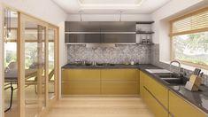 Moderna casa de 1 planta con techo a cuatro aguas y 166 m2-7 Ideas Hogar, Kitchen Interior, Home Projects, Home Kitchens, Kitchen Cabinets, New Homes, Architecture, Table, Furniture