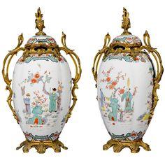 A pair of ormolu mounted Samson porcelain Chinoiserie vases, 19th Century