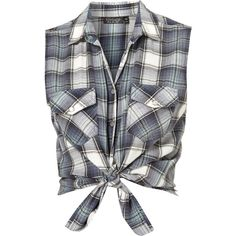 Sleeveless Check Shirt (€20) ❤ liked on Polyvore featuring tops, shirts, crop tops, blusas, blue top, white sleeveless shirt, blue shirt, blue checked shirt and white cotton tops