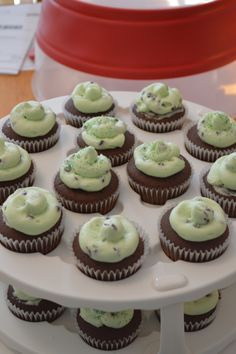 Saint Patrick's Day cupcakes with mint & mini chocolate chip icing.