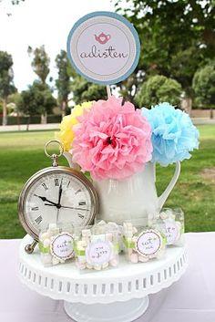 Adorable Alice in Wonderland party. tea parti, birthday parties, clock, teas, tissue paper flowers, alice in wonderland, wonderland party, centerpieces, parti idea
