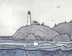 White Lighthouse and Whales