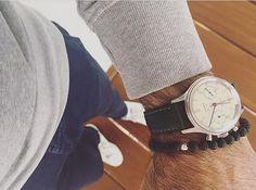 Seagull watch with a handmade custom bracelet. R. Rijswijk
