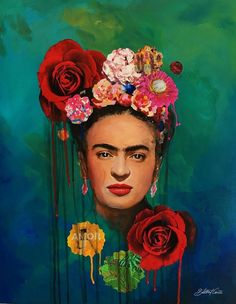Frida Kahlo The Mexican Painter Canvas Oil Painting Pictures Printed for Wall Art Decor/ Home Living Frida E Diego, Frida Art, Frida Paintings, Freida Kahlo Paintings, Frida Kahlo Portraits, Frida Kahlo Artwork, Art Du Collage, Mexican Art, Pictures To Paint