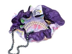 Drawstring Travel Jewelry Pouch / Satchel - Medium - Multicolor Butterflies with Purple Satin