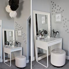 White-Minimalist-Makeup-Vanity-Table-Design-IKEA-with-Square-Mirror-and-Unique-Rounded-Chair.jpg (1000×1000)