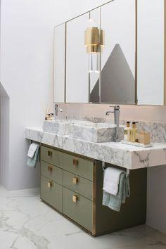 marble, sage green, pink and brass retro modern minimal bathroom design