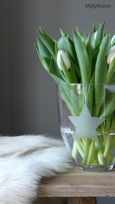 ☆ Love this glass Vase, with the frosty star