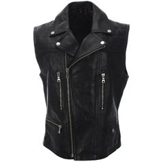 FLATSEVEN Mens Slim Fit Genuine Leather Motorcycle Classic Casual Vest found on Polyvore