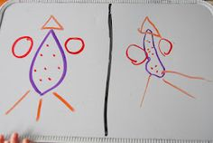 Copy my drawing...helps kids develop spacial awareness while working on hand coordination, drawing, shapes and colors.