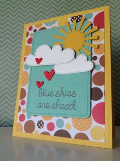 Lawn Fawn - Spring Showers Lawn Cuts, Stitched Journaling Card, Hearts Lawn Cuts, Blue Skies _ super cute card by Fiona via Flickr - Photo Sharing!