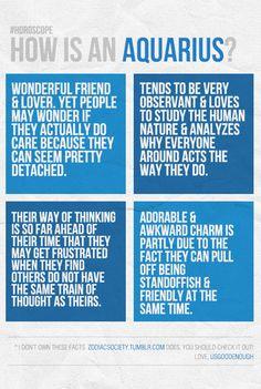How is an Aquarius? Wonderful friend, standoffish, observant.