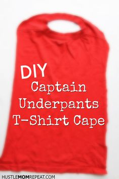 Make a DIY superhero t-shirt cape with your child this summer to celebrate the release of Captain Underpants! Make a DIY superhero t-shirt cape with your child this summer to celebrate the release of Captain Underpants! Captain Underpants Costume, Captain Underpants Series, Superhero Tshirt, Superhero Capes, Marvel Cosplay, Captain America Civil War, Chris Hemsworth, Easy Character Costumes, T Shirt Cape