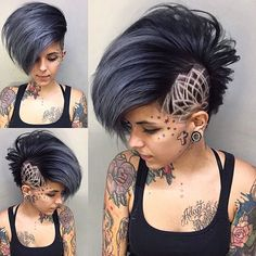 Shaved Sides Haircut Female Ideas in 2019 Side Shaved Hair DesignsSide Shaved Hair Designs Shaved Side Haircut, Shaved Side Hairstyles, Undercut Hairstyles, Hair Undercut, Shave Designs, Undercut Hair Designs, Shaved Hair Designs, Girls Short Haircuts, Bob Haircuts