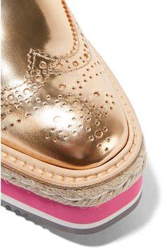 Prada - Metallic Leather Brogues - Gold - IT34.5