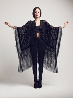 Black Velvet Fringe Kimono - The Black Rose, fashion, style, clothing, bohemian, gothic - $208.54