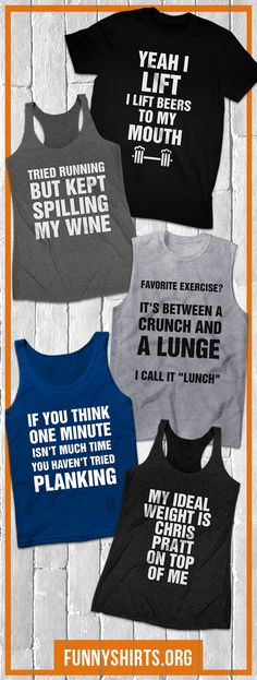 Everyone needs a little gym-spiration. Start the year off right with funny worko - Funny Shirt Sayings - Ideas of Funny Shirt Sayings - Everyone needs a little gym-spiration. Start the year off right with funny workout shirts! Funny Workout Shirts, Workout Humor, Workout Tanks, Fitness Shirts, Funny Shirt Sayings, T Shirts With Sayings, Funny Shirts, Vinyl Shirts, Custom Shirts
