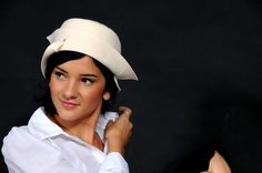 WHITE HAT with BRIM and blue velvet ribbon by RetroReproHandmade