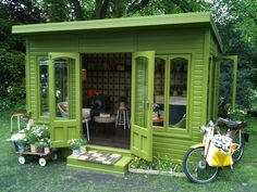 Kiely's Artisan Garden Retreat Here's a garden shed that is for relaxing. No dirt allowed in this shed:) Beautiful Here's a garden shed that is for relaxing. No dirt allowed in this shed:) Beautiful color! Outdoor Rooms, Outdoor Living, Outdoor Office, Livable Sheds, Dream Garden, Home And Garden, Diy Garden, Cottage Gardens, She Sheds