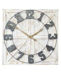 Stratton Home Decor Rustic Farmhouse Wall Clock - Dstrdmulti Rustic Wall Clocks, Farmhouse Wall Clocks, Antique Brass Faucet, Country Kitchen Flooring, How To Make Wall Clock, Country Style Homes, Do It Yourself Home, Rustic Farmhouse, Rustic Decor