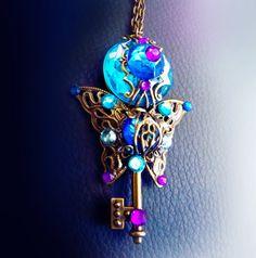 Victorian key necklace, filigree necklace, steampunk jewelry, crystal key necklace, blue necklace, magic, bronze butterfly key, OOAK