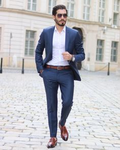 Image may contain: 1 person, standing, beard and suit Formal Men Outfit, Smart Casual Outfit, Men Casual, Formal Suits, Mens Suit Colors, Blue Suit Men, Navy Blue Suit, Mens Fashion Suits, Mens Suits