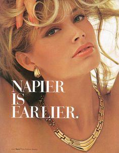 Kelly Emberg Napier Is Earlier, jewelry ad Vintage Costume Jewelry, Vintage Costumes, Vintage Outfits, Vintage Jewelry, Vintage Fashion, Vintage Clothing, Jewelry Ads, Fashion Jewelry, Jewelery