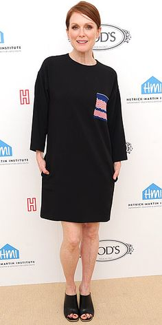 Last Night's Look: Love It or Leave It? Vote Now!   JULIANNE MOORE   in a knee-length T-shirt dress, with chevron stripped pocket and peep toe black mules at the Hetrick-Martin Institute: The Hero Fund Scholarship Fundraiser in N.Y.C.