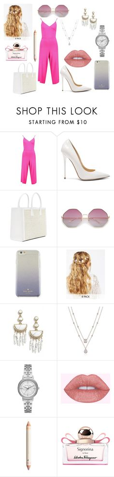 """""""pink2"""" by rita-zakhour on Polyvore featuring Boohoo, Jimmy Choo, Kate Spade, ASOS, BaubleBar, Michael Kors and Salvatore Ferragamo"""
