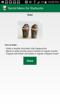 Starbucks Secret Menu Drinks, Starbucks Coffee, Yummy Snacks, Yummy Drinks, Frappuccino Flavors, Chocolate Chip Frappe, Starbuck Drinks, How To Order Starbucks, White Mocha