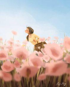 Smell The Spring - Art Print - Illustration Art - Wall Deco - Wall Art - Peijin Psy Art, Spring Art, Art And Illustration, Illustration Fashion, Portrait Illustration, Art Illustrations, Fashion Illustrations, Digital Art Girl, Anime Art Girl