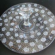Vintage Etched Glass Rose Design Handled Sandwich Plate