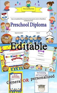 Editable Christian Preschool, Pre-K, & Pre-Kindergarten diplomas, certificates, and graduation invitations with religious images. Includes 3 different designs, general and personalized graduation invitations, color and no color backgrounds. https://www.teacherspayteachers.com/Product/Religious-Christian-Preschool-Diplomas-Certificates-Graduation-Invitations-2503413