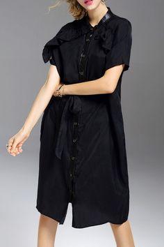 Knee Length Button Up Shirt Dress ==