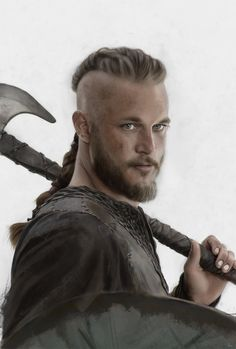 Vikings - Ragnar Lodbrok. Now that Jade has the beard I really want him to do his hair like this :)