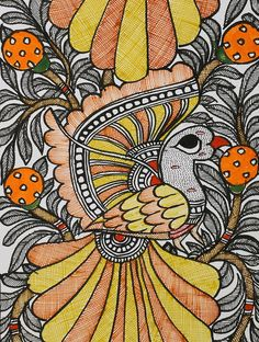Bird Madhubani painting x Madhubani Paintings Peacock, Kalamkari Painting, Madhubani Art, Indian Art Paintings, Coloring Book Art, Colouring, Durga Painting, Circle Painting, Indian Folk Art