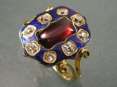 ANTIQUE REGENCY EARLY 19THC GOLD DIAMOND BLUE ENAMEL GARNET PANEL RING