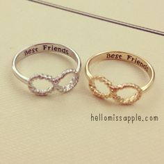 Best Friends Rings www.hellomissapple.com Infinity ring with best friends engraving #accessories #jewelry #ring #hellomissapple