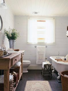 Not my typical style, but I like many elements from this bathroom.