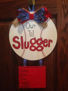 I can probably make a hospital door hanger like this as a gift (also shower decoration) if we want. Hospital Door Baby, Hospital Door Hangers, Baby Door Hangers, Wooden Door Hangers, Wooden Doors, Wooden Signs, Burlap Door Decorations, Wooden Wreaths, Baby Kranz