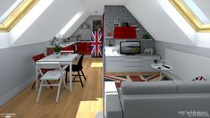 Comment caser dans moins de 25 m² (au sol) en sous-pentes un salon où dormir la nuit, un bureau, un espace repas, une cuisine et une salle de bain... bref, un studio offrant tout le confort pour un étudiant ou un jeune actif.