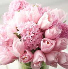 Bouquet of Pink Tulips, Pink Hyacinths Light Pink Flowers, Pink Tulips, My Flower, Beautiful Flowers, Fresh Flowers, Flower Cart, Cut Flowers, Pink Roses, Hyacinth Bouquet