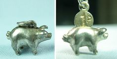 Miniature Piggy Bank English Coin Moves Vintage Silver Charm | eBay