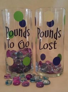 Pounds Lost and Pounds To Go jars is great weight-loss motivation. You can see the weight you are loosing to inspire you to keep on going!